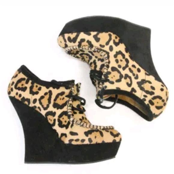 34382675da9a L.A.M.B. Shoes - LAMB Wedge Heels Leopard Calf Hair Gwen Stefani